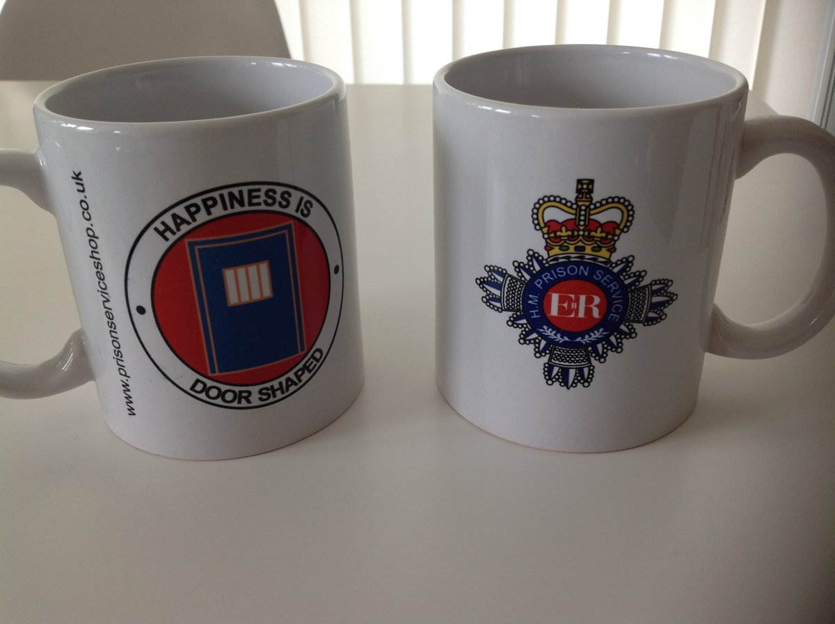 One HM Prison Service Ceramic Mug, Happiness Is Door Shaped