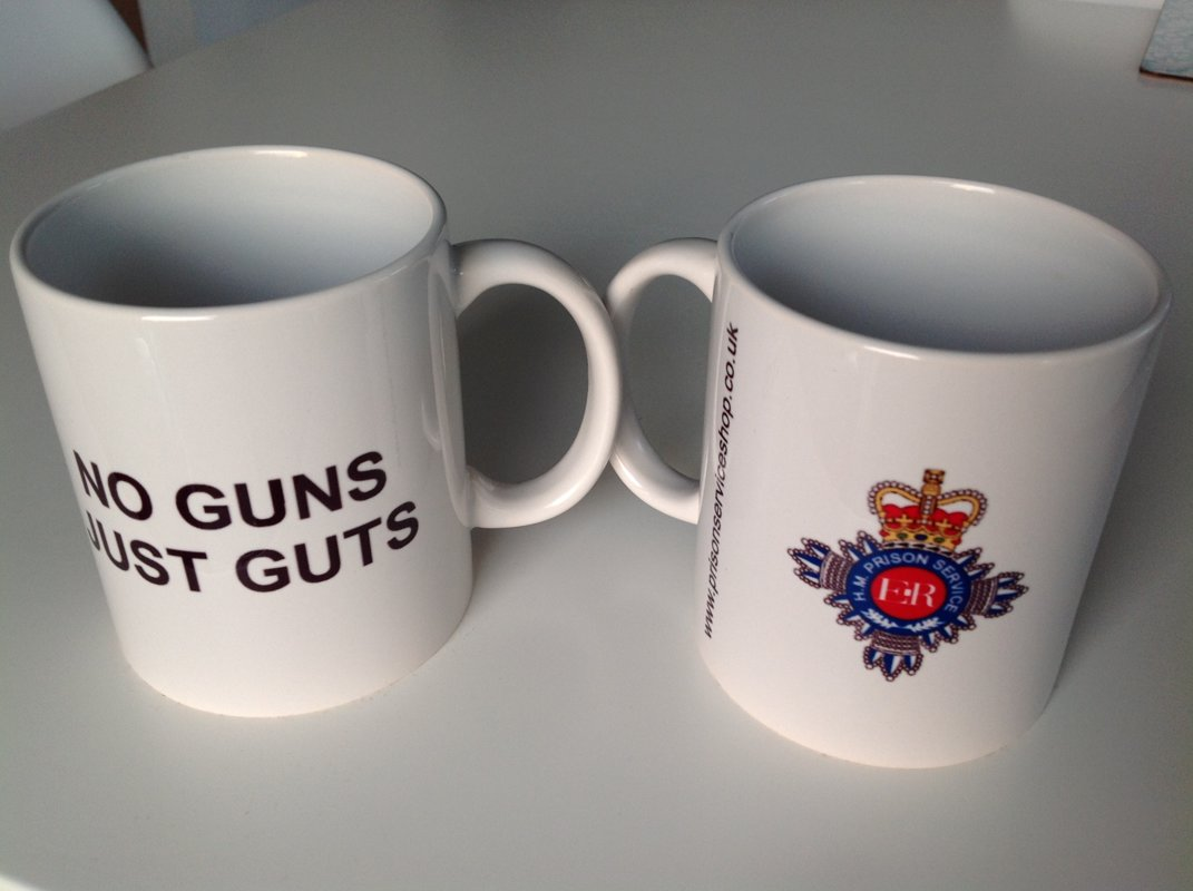 One HM Prison Service Ceramic Mug , No Guns - Just Guts